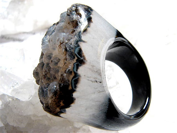 Size 7.5, Icy Blue Glacier, COUTURE, Black Agate and Chalcedony Quartz Crystal Couture Cocktail Ring
