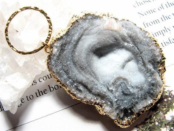 Myst, HUGE-Rock Quartz Crystal Druzy Pendant