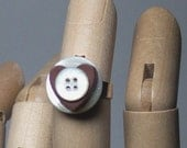 VINTAGE STACKED BUTTON RING Mother of Pearl and cinnamon heart
