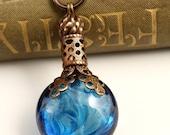 Eau De Sky - Perfume Style Vintage Revival Artisan Lampwork Necklace