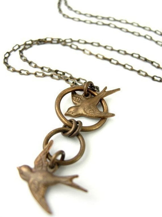 Chasing Sparrows - vintaj art necklace
