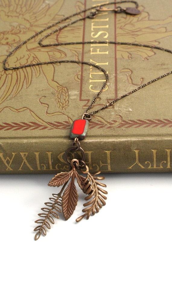 Red Fern - Vintage Revival Hand Rendered Necklace