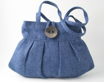 Blue purse, fabric shoulder bag, retro bag, womens handbag, small tote bag, pleated bag, blue tote,