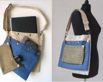 Laptop messenger bag, crossbody bag, shoulder bag, blue messenger bag, blue tote ,travel bag, detachable 3 section bag