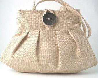 Beige Handbag, small tote bag, pleated  Purse, shoulder bag, retro bag