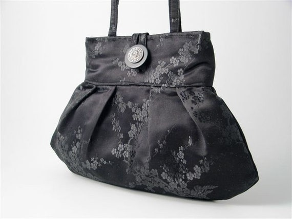 small and sexy japanese black silk  purse shoulder bag