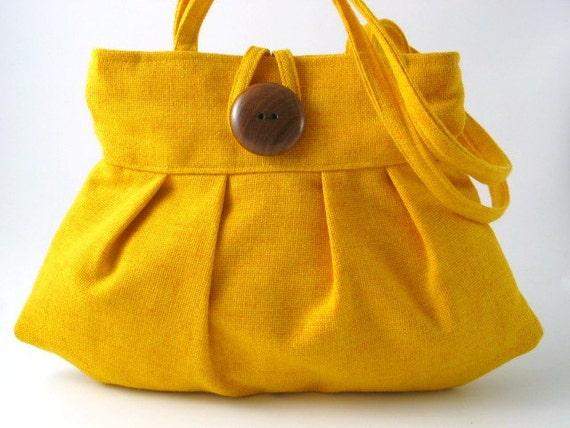small tote -purse- sexy pleated bag- handbag- shoulder bag in Yellow decor fabric