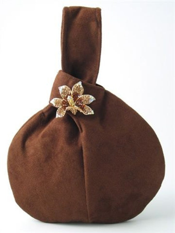 chocolate  brown  ultra suede wristlet bag