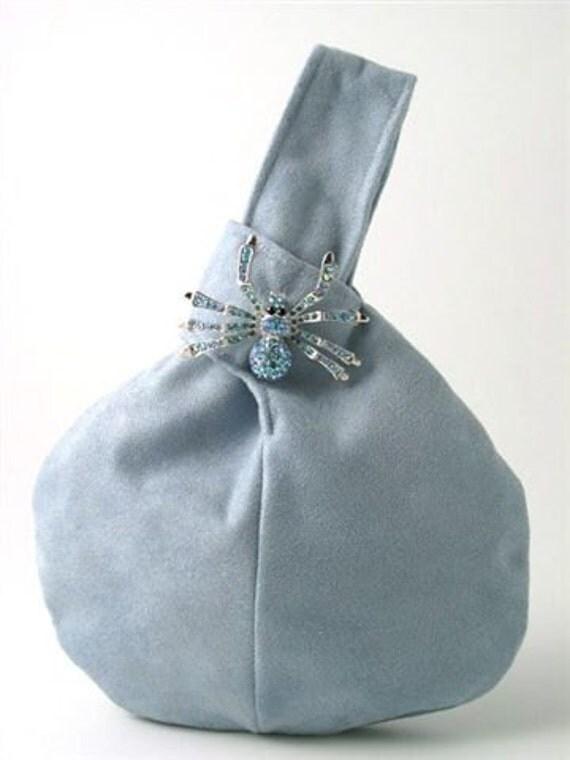 light blue purse , wristlet bag ,blue handbag, vegan ultrasuede bag decorated with crystal stone broche, party bag, ready to ship