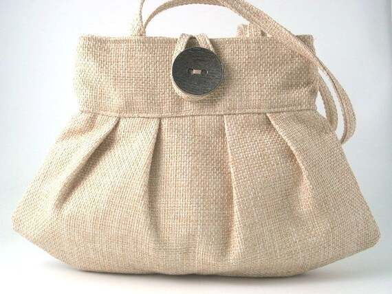 Beige Handbag, small tote bag, pleated  Purse, shoulder bag, retro bag