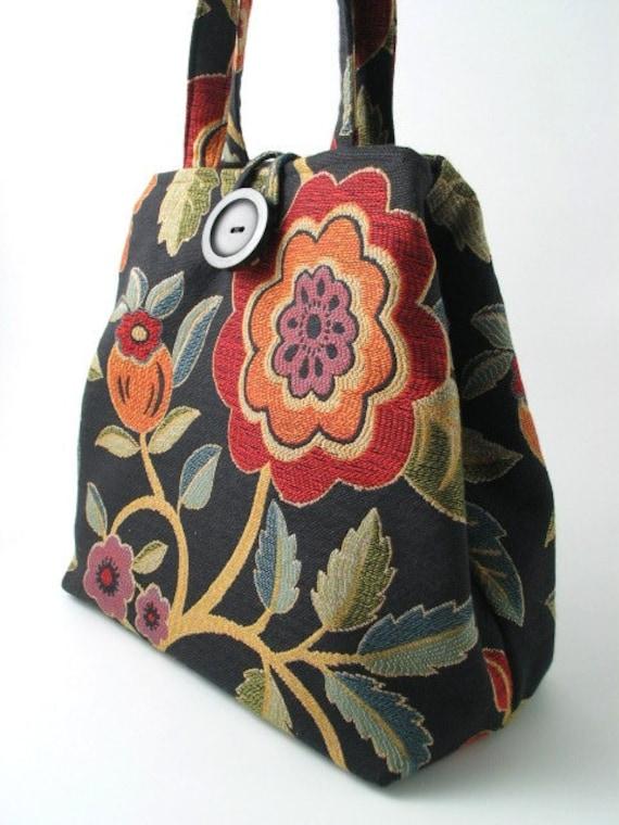 floral tote bag, handbag, diaper bag, laptop bag, purse, shoulder bag, tapestry bag