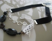 Asymmetric Velvet and Vintage Lace Necklace with Silver Chain, Black Stone, and Agate