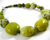 """Statement Necklace, Chunky Necklace, Stone Choker, Yellow Tibetan """"Turquoise"""", Lime Green, Bright Chartreuse, Tender Shoots, Linden Green"""