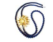 Cobalt Blue Necklace with Vintage Gold Flower Burst, Long Stone Necklace, Statement Necklace, Retro Vintage Flower Jewelry