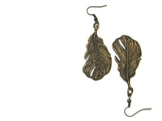 Earthy Earrings, Hippie Earrings, Feather Earrings, Bronze Metal Feathers, Bold Earrings, Bohemian Jewelry metallic gift under 20