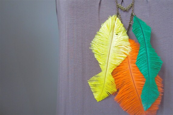 Art Nouveau Statement Necklace, Tangerine Orange, Yellow, Emerald Green Chevron Feathers, fashion statement lemon zest ultramarine