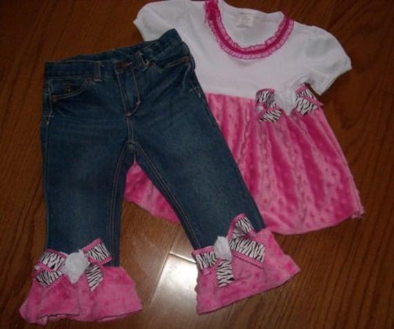 Custom Boutique Pageant Ruffle Minky Pink Zebra Dot set bows Wholesale twirl Sale