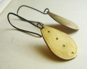 Antiqued Brass Elongated Teardrop Earrings FREE SHIPPING with Recycled Silver Gold Black Tribal