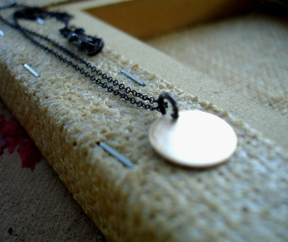 Tiny Gold Disc Handmade Necklace 14k gold fill with Oxidized Silver Chain Mixed Metal