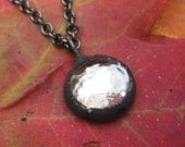 Black Patina  and Clear Glass Necklace