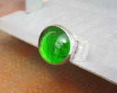 Emerald Green Round Glass Oversized Ring On Adjustable Band by Heidi Urbanski on etsy