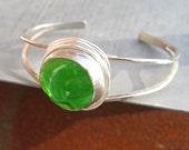 Green Glass Sterling Plated Cuff Bracelet by Heidi Urbanski on Etsy