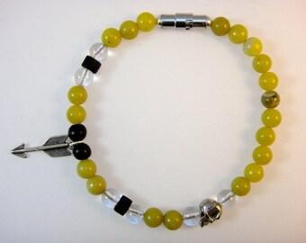 Beaded SP Gemstone Bracelet (Men's): Olive Serpentine, Smokey Quartz, Bone, Jasper, and Sterling Silver