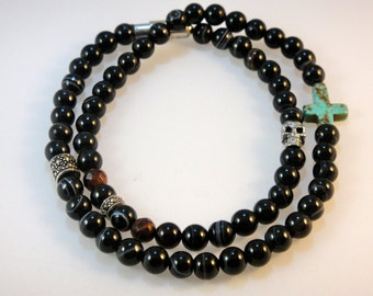 Beaded Gemstone Bracelet (Men's): Onyx,Tigers Eye, Quartz, Marcasite and Sterling Silver