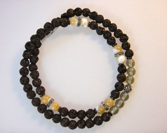 Beaded Bracelet (Men's):Natural Lava Rock Beads, Marcasite and Silver, Mother of Pearl, and Smokey Quartz