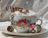 Vintage, lacy, shabby, teacup pincushion