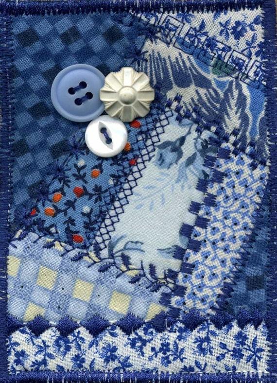 Shades of Blue mini Crazy Quilt