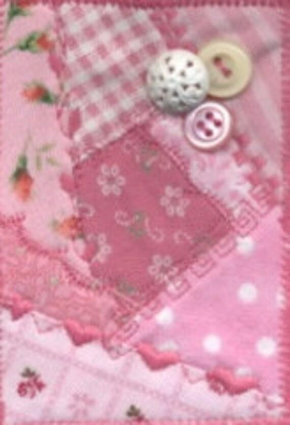 Mini pink crazy quilt ACEO