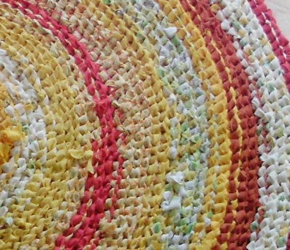 """40"""" Rug Large Round Rag Southwestern Sun Yellow Red Orange Striped Shabby Chic Up Cycled Medium Large"""