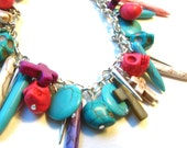 Zombie Mardi Gras Bangle Bracelet- Bright Pastel Turquoise and Silver Sugar Skulls, Spikes, Crosses and Coins Charm Bracelet