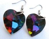 Rainbow Crystal Heart Earrings