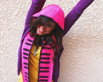 Hot Pink And Black Piano Key Scoofie - Hooded Scarf - READY TO SHIP