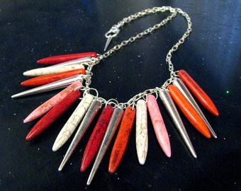 Roses - Large Howlite And Silver Spike Statement Necklace