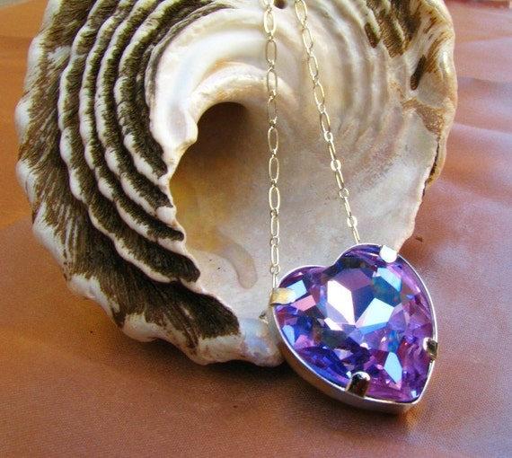 Royal Heart - Large Alexandrite COLOR CHANGING Purple Crystal Pendant Necklace