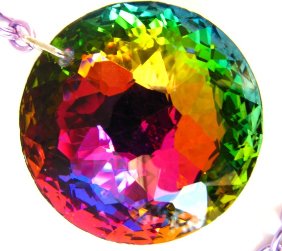 Green Caldera Huge Rainbow Volcano Crystal Necklace With