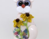 Made to order Margo lampwork beads floral cat