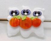Made to Order -Margo lampwork beads halloween three ghosts pumpkin