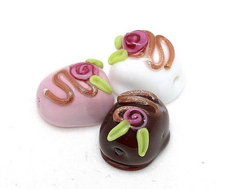 Made to order Margo lampwork beads chocolate (3)