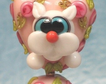 Made to order Margo lampwork beads valentine pink rose heart white cat