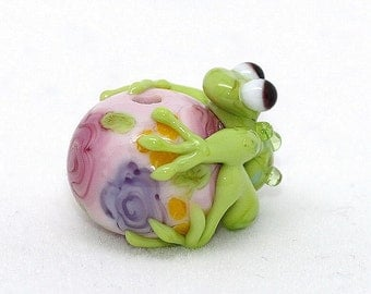 Made to order Margo lampwork beads frog floral