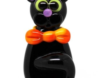 Made to order Margo lampwork beads halloween cat