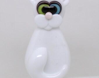 Made to order Margo lampwork beads one eye blue one eye green cat