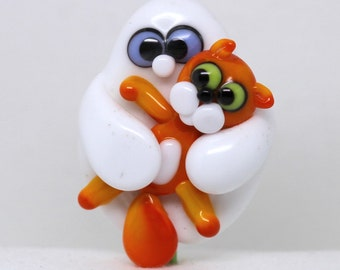 Made to order Margo lampwork beads halloween ghost cat