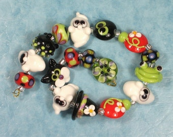 Made to Order -Margo handmade lampwork beads halloween ghost cat set A (17)