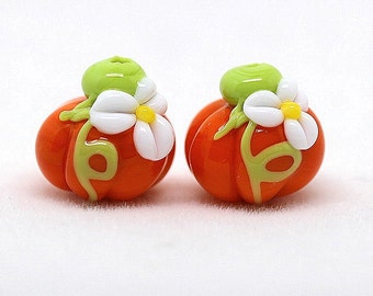 Made to order Margo lampwork beads pumpkin earrings pair