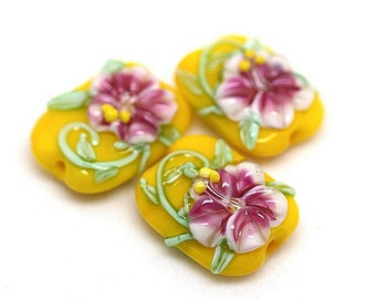 Made to order Margo lampwork beads floral set (3)